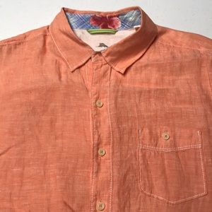 TOMMY BAHAMA RELAX Orange Linen Short Sleeve Shirt